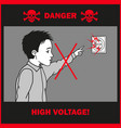 boy touches to an electrical outlet vector image