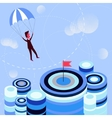 Businessman flying parachute to the aim vector image vector image