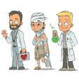 cartoon doctor patient scientist characters set vector image vector image