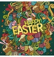 Cartoon hand-drawn doodles Happy Easter background vector image vector image
