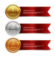 champion gold silver and bronze medails with red vector image vector image