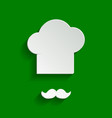chef hat and moustache sign paper whitish vector image vector image