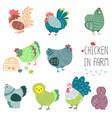 chicken in farm vector image vector image