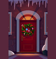 christmas holiday wreath on home door vector image