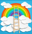 color rainbow with clouds and wooden stair on blue vector image