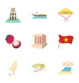 Country Vietnam icons set cartoon style vector image vector image