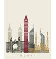 Dubai skyline poster vector image vector image