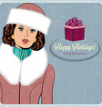 elegant young and happy woman in winter retro vector image vector image