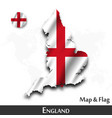 england map and flag waving textile design dot vector image