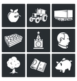 Export of Polish apples Icons Set vector image