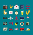 flat icons set traveling planning a summer vector image vector image
