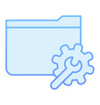 folder with gear flat icon settings folder blue vector image vector image