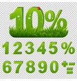 green percents set with grass transparent vector image vector image