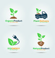 green sprout logo set vector image