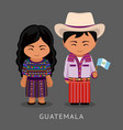 guatemalans in national dress with a flag vector image vector image