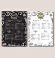 hot drinks and sweet desserts a4 menu vector image vector image