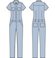 jean overalls front and back vector image vector image