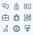 job outline icons set collection of vector image vector image