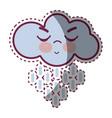 kawaii raining cloud angry with close eyes and vector image vector image