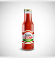 Ketchup Glass Bottle In Realistic Style vector image