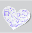 kitchen utensils is drawn on a paper heart doodle vector image vector image