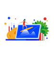 market wave surfing on the financial waves vector image