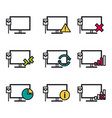 nine line icons - computer connection vector image vector image