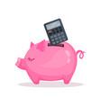 pink piggy bank and calculator saving and vector image