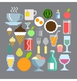pixel art style food and drink set vector image