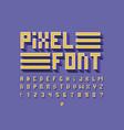 pixel volume font alphabet vector image