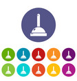 plunger icons set color vector image