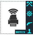 printer with wi-fi connection icon flat vector image vector image