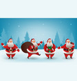 santa claus christmas character set santa with vector image vector image