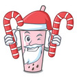 santa with candy raspberry bubble tea character vector image vector image