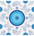 Seamless white pattern with vintage blue flowers vector image vector image