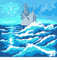 seascape with a warship vector image vector image