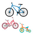 set bicycles realistic vector image