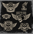 set emblems for biker club winged human skull vector image vector image