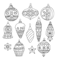 set hand drawn christmas tree balls vector image vector image