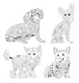 set of zentangle stylized dogs hand drawn lace vector image