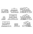 set store shop house street store cart and vector image vector image