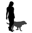 silhouette of a woman with a dog on a walk vector image
