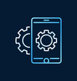smartphone with gear colored outline icon vector image