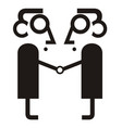 two man business partnership and handshake icon vector image