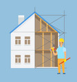 worker standing construction male with tool vector image