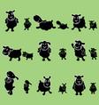 cute black sheep poses design set vector image