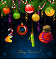 funny numbers of new year hanging from the fir