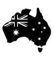 australia simplified flag map black and white vector image vector image