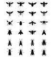 black silhouettes bees and wasps vector image