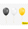 black white and golden balloons isolated vector image vector image